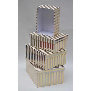 Geschenkkarton Weihnachten.4er Set Geschenkkarton Geschenkbox Weihnachten Weiß Gold 26 X 18 5 X 12 Cm