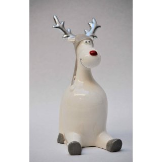 Rentier Dekofigur Sitzend Porzellan Weiß Silber 16 Cm Has