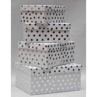 Geschenkkarton Weihnachten.4er Set Geschenkkarton Geschenkbox Weihnachten Weiß Silber Gepunktet 26 X 18 5 X 12 Cm